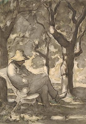 R124 A Man Reads in the Garden